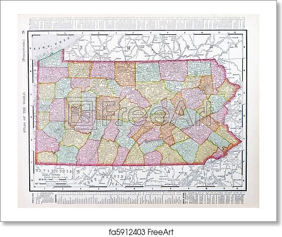 Free Art Print Of Antique Map Pennsylvania Pa United States Usa