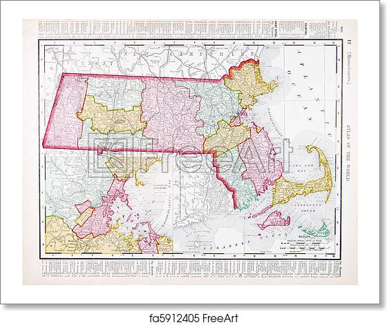 Massachusetts On The Us Map.Free Art Print Of Vintage Color Map Of Massachusetts United States