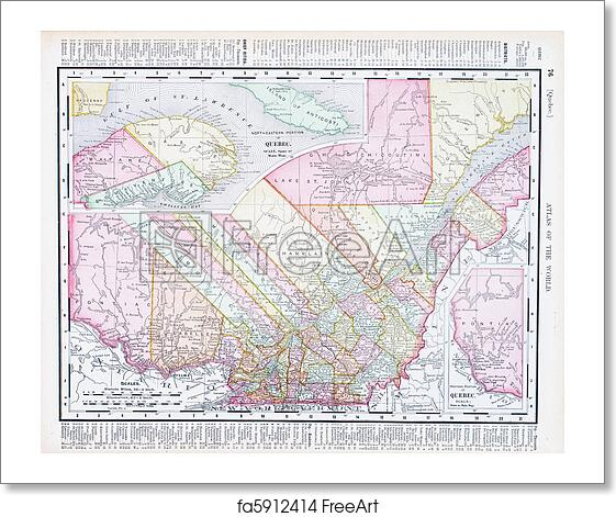 Map Of Canada 1900.Free Art Print Of Antique Vintage Color Map Quebec Province Canada