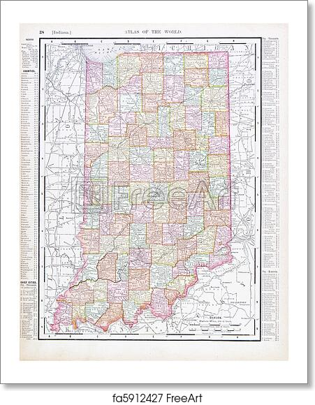 Free art print of Antique Vintage Color Map of Indiana, USA Indiana Usa Map on three regions of indiana, usa and mexico, lakes in northern indiana, state of indiana, states around indiana, capital of indiana, major products in indiana, usa maps with cities only, illinois state line indiana, lost towns in indiana, evansville indiana, indianapolis indiana, location of us in indiana, sweet home indiana, america indiana, maps for indiana, lowest point in indiana, big cities in indiana, google maps indiana, sports in indiana,
