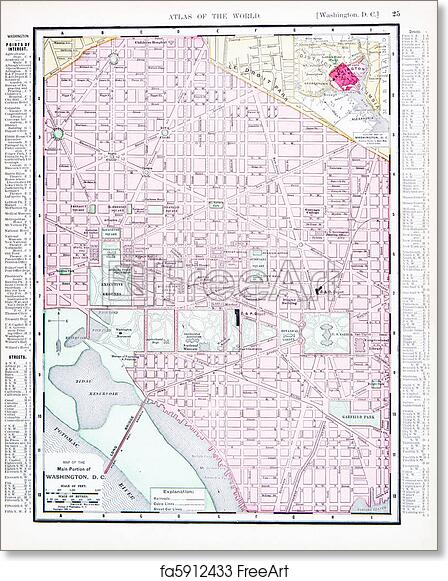 picture about Washington Dc Printable Map referred to as Absolutely free artwork print of Antique Shade Highway Map Washington, DC, United states of america