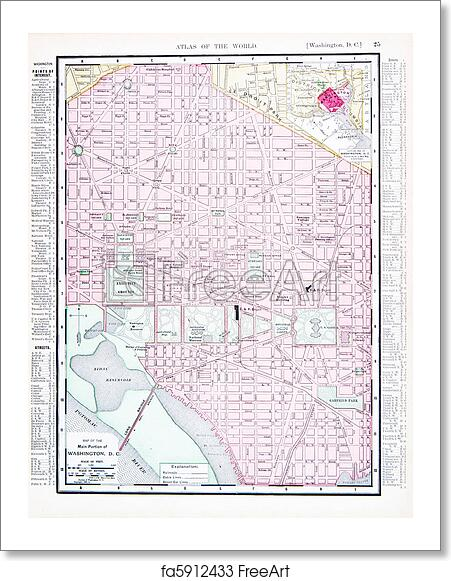Free art print of Antique Color Street Map Washington, DC, USA ...