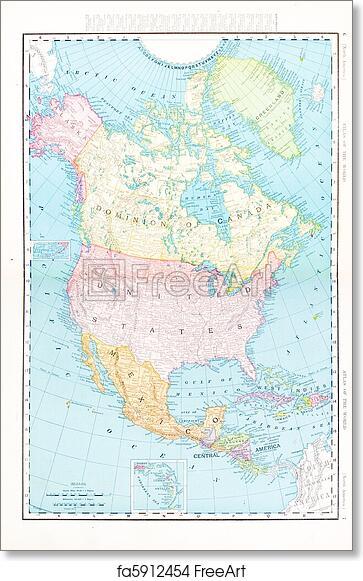 Free Art Print Of Antique Color Map North America Canada Mexico Usa