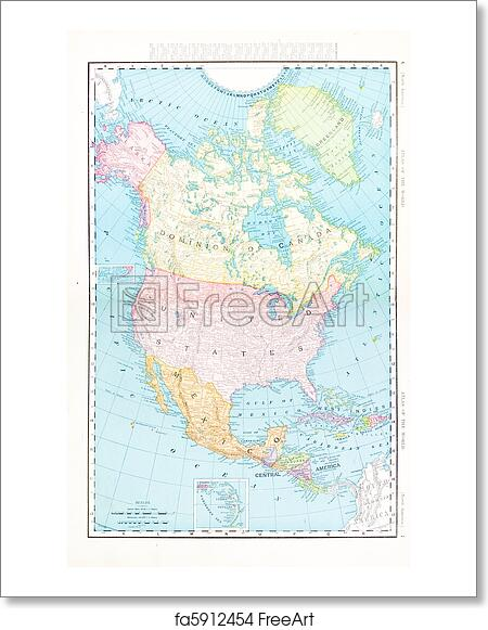 Free art print of Antique Color Map North America Canada Mexico, USA ...