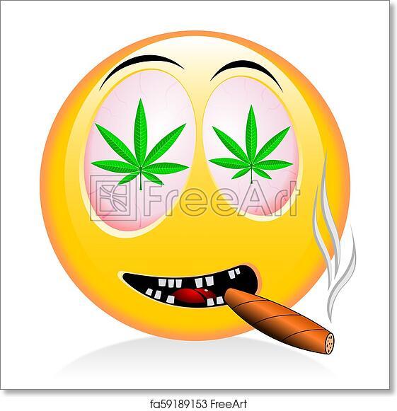 Free art print of Emoji - smoking weed