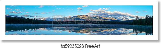 Free Art Print Of Lake Annette At Jasper National Park Alberta Canada Panorama Of Morning Sun And Low Clouds Over The Rocky Mountains At Annette Lake In Jasper National Park With Reflections