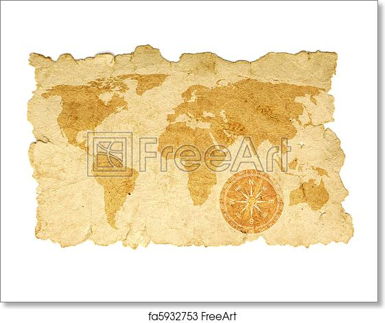 Free Art Print Of World Map With Compass On Old Paper Freeart