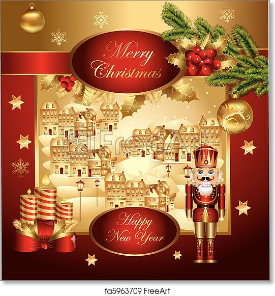 photograph relating to Christmas Banner Printable identified as No cost artwork print of Xmas banner with nutcracker