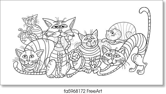 Free art print of Color cats group for coloring book