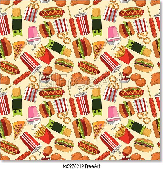 Free Art Print Of Seamless Fast Food Pattern Seamless Fast Food