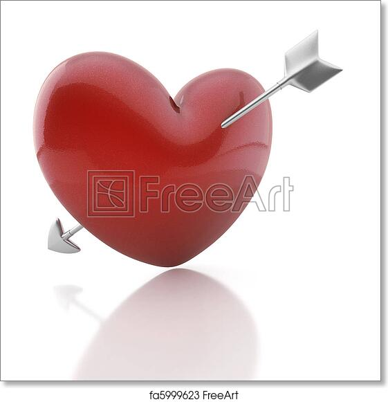 Free Art Print Of Valentine Heart With Cupid Arrow Red Heart