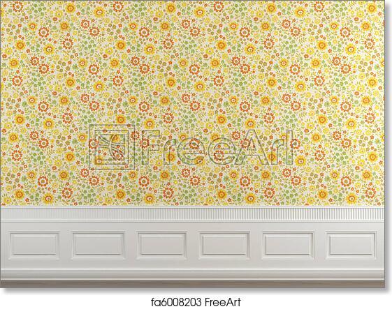 free art print of flowery wallpaper wall interior scene of flowery