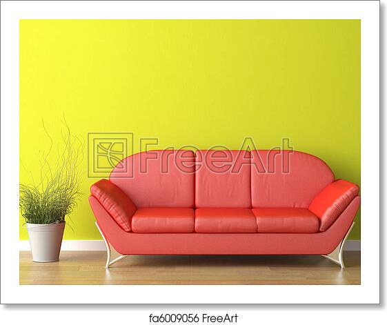 Free Art Print Of Interior Design Red Couch On Green Interior Design Of A Modern Red Couch On Green Wall Freeart Fa6009056