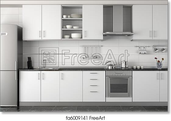 Free Art Print Of Interior Design Of Modern White Kitchen Interior Design Of Clean Modern White And Black Kitchen With Stainless Steel Equipment Freeart Fa6009141