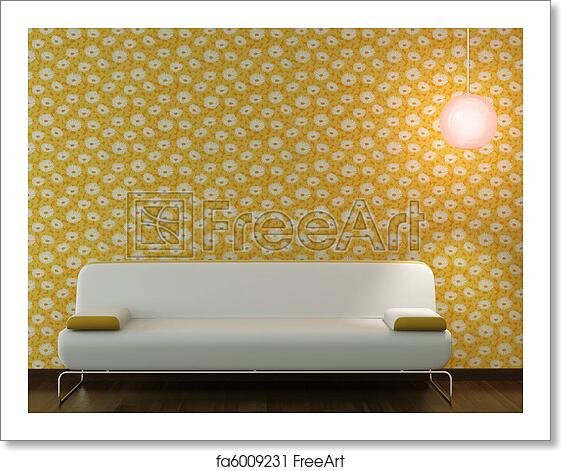 Brilliant Free Art Print Of Interior Design Of White Couch On Flowery Wallpaper Gamerscity Chair Design For Home Gamerscityorg