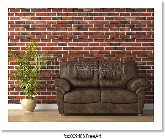 Magnificent Free Art Print Of Leather Couch On Brick Wall Dailytribune Chair Design For Home Dailytribuneorg