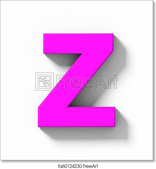 Free art print of Letter Z 3D purple isolated on white with shadow -  orthogonal projection
