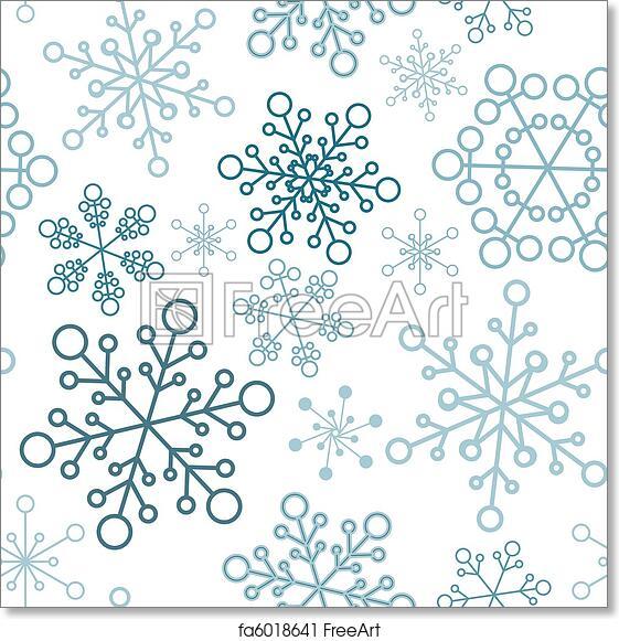 Christmas Snowflakes.Free Art Print Of Christmas Seamless Pattern With Simple Snowflakes