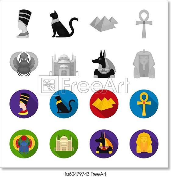 Free art print of Anubis, Ankh, Cairo citadel, Egyptian beetle  Ancient  Egypt set collection icons in monochrome, flat style bitmap symbol stock