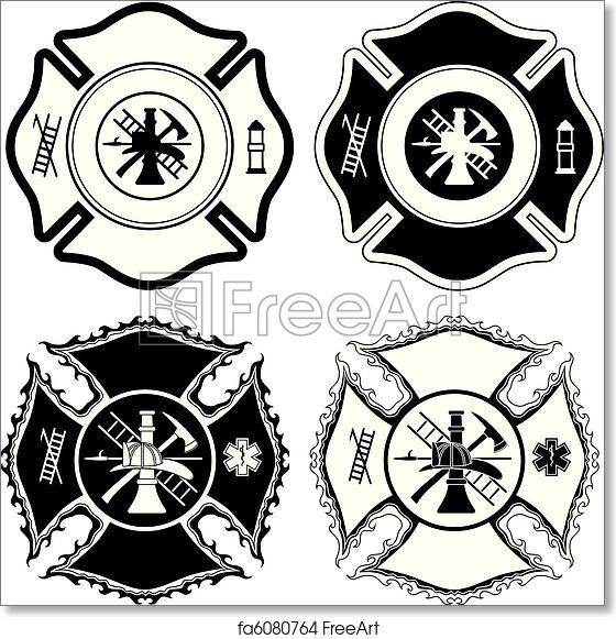 Free Art Print Of Firefighter Cross Symbols Illustration Of Four