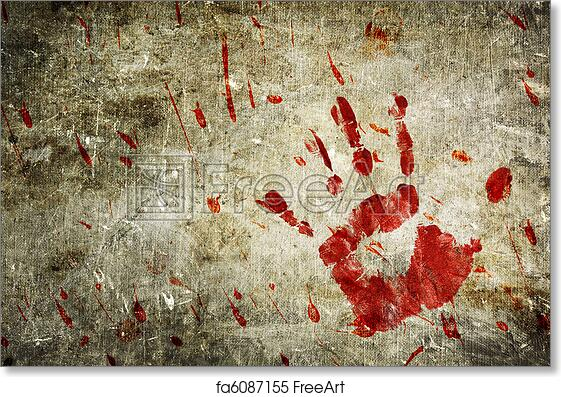 Free Art Print Of Bloody Wall Hand And Blood Splatter On A Grungy