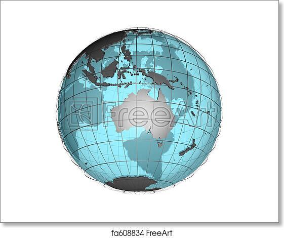 free art print of 3d globe australia