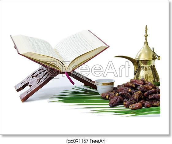 Free art print of Thge Holy Quran with Dates Fruit and Arabic Coffee Pot
