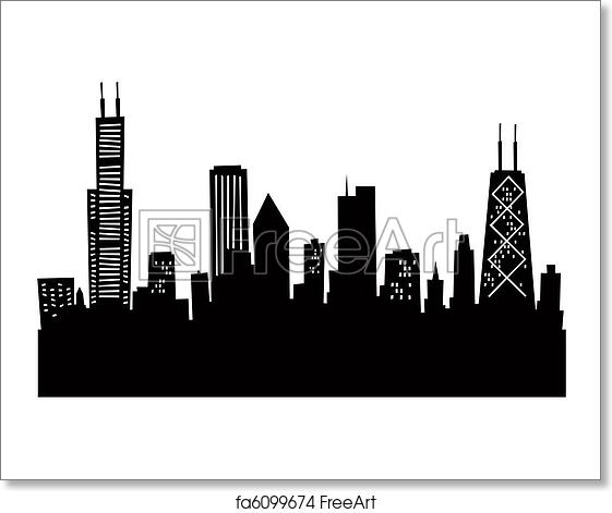 free art print of cartoon chicago skyline cartoon skyline