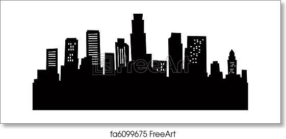 free art print of cartoon los angeles skyline cartoon skyline