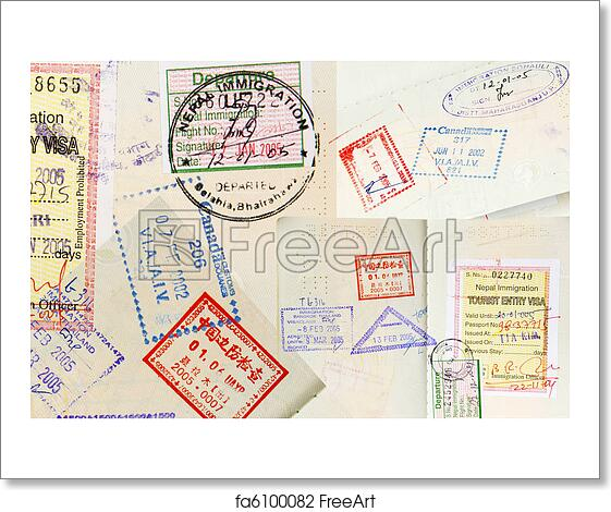 free art print of passport stamps background passport stamps
