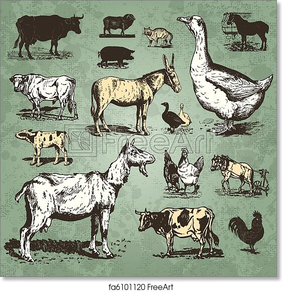 Free Art Print Of Farm Animals Vintage Set Vector