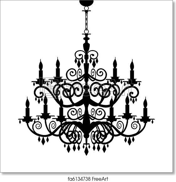 Free art print of baroque chandelier silhouette baroque decorative free art print of baroque chandelier silhouette aloadofball Images