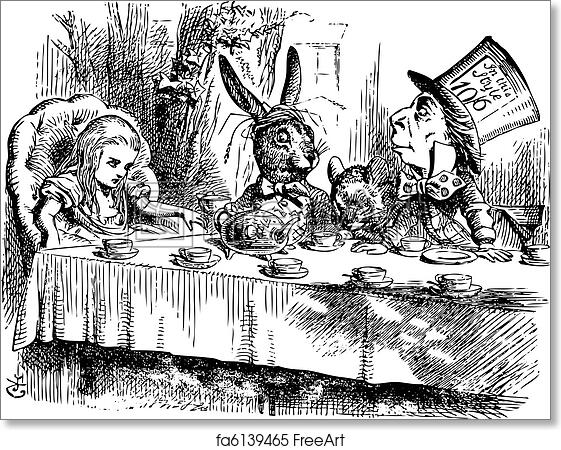 free art print of mad hatter s tea party alice in