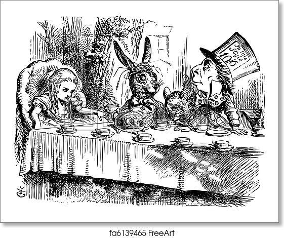 Free Art Print Of Mad Hatter S Tea Party Alice In Wonderland Original Vintage Eng Freeart Fa6139465