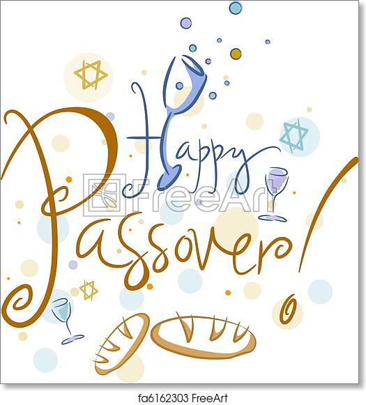 free art print of happy passover. text featuring the words happy
