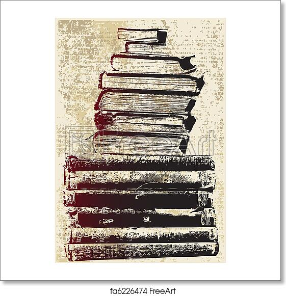 free art print of grunge book stack a vector background of a pile