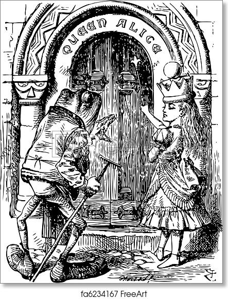 Free art print of Alice and the Frog at the Door - Through the Looking Glass and what Alice Found There original book engraving  sc 1 st  FreeArt & Free art print of Alice and the Frog at the Door - Through the Looking Glass and what Alice Found There original book engraving