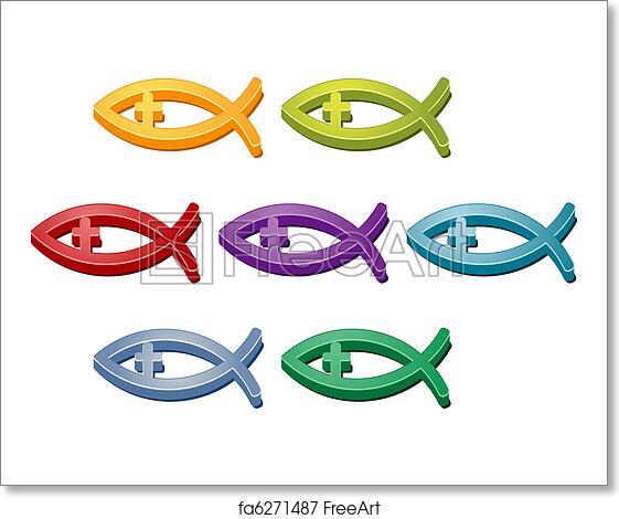 Free Art Print Of Coss Christian Fish Symbol Jesus Christian Fish