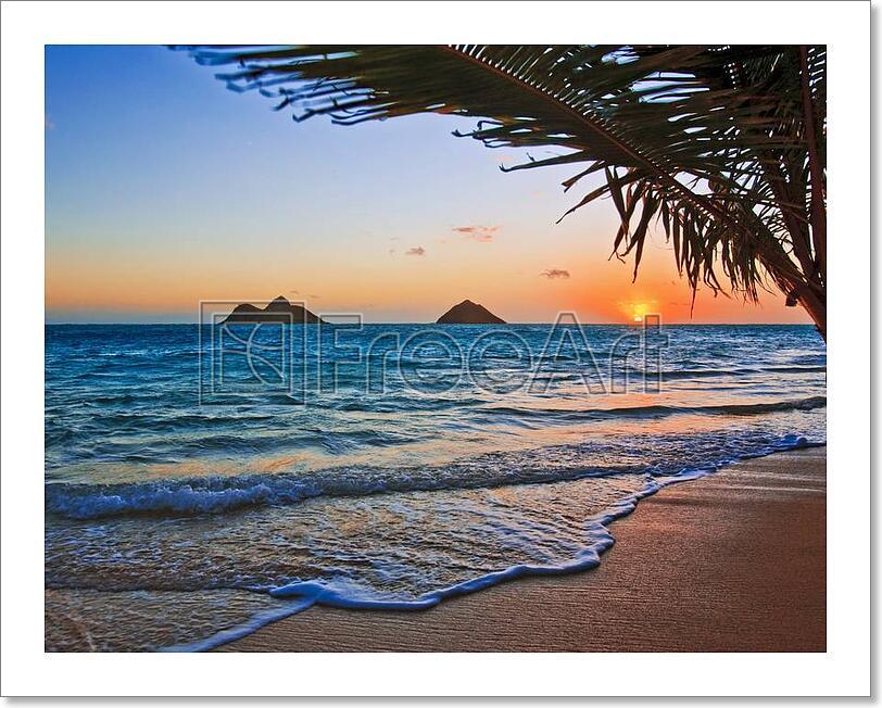 pacific sunrise at lanikai beach art print home decor wall art