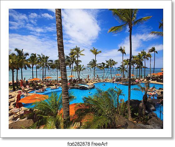Free Art Print Of Swimming Pool On Waikiki Beach Hawaii