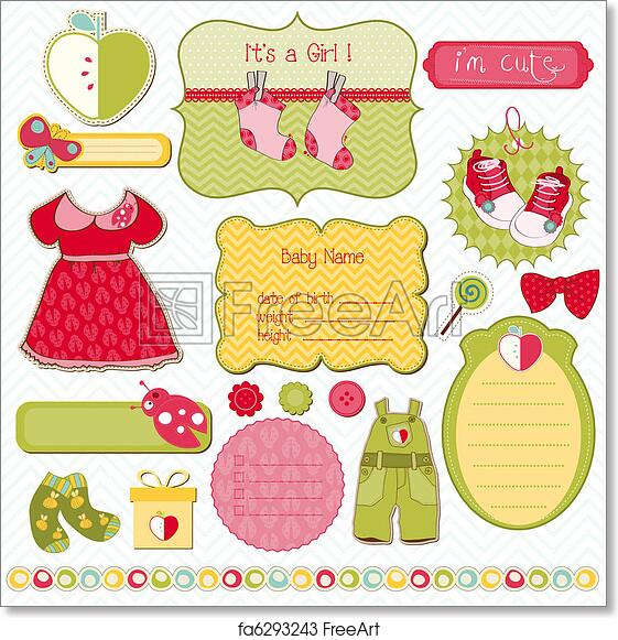 Free Art Print Of Design Elements For Baby Scrapbook Easy To Edit