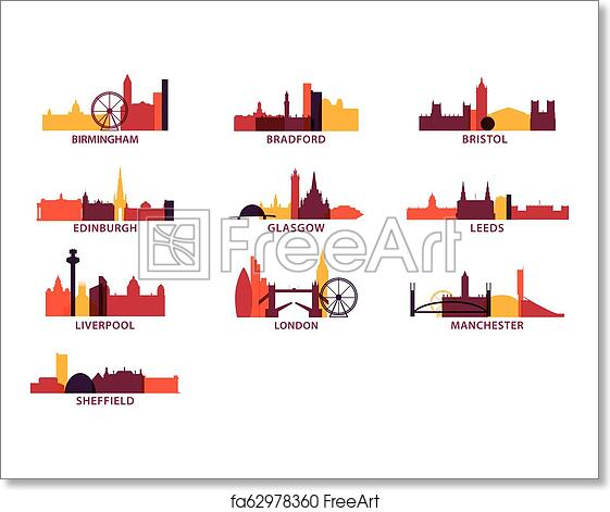Free art print of UK cities icons set skyline vector logo pack