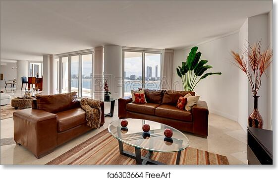 Free art print of Leather Sofa in Modern Apartment