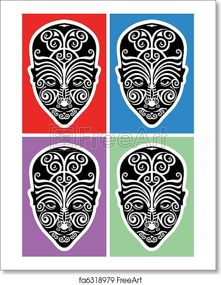 ecdd5372e Free art print of Maori face tattoo. Black and white illustration of ...