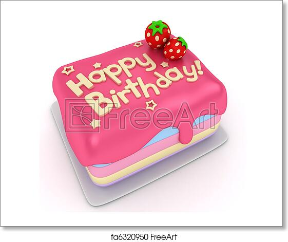 3D Illustration Of A Birthday Cake