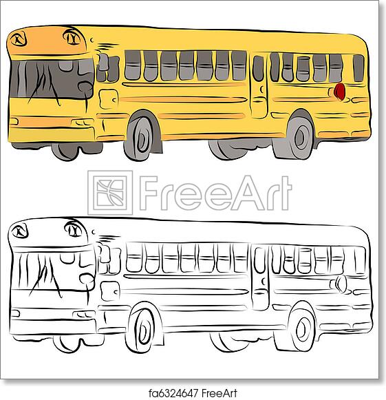 Free Art Print Of School Bus Line Drawing An Image Of A School Bus