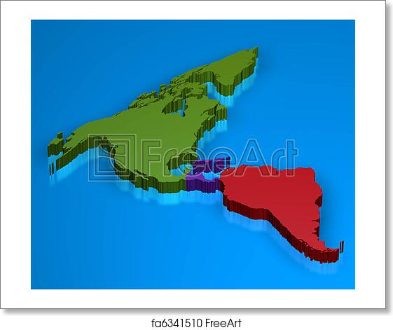 3d Map Of South America.Free Art Print Of America Map In 3d
