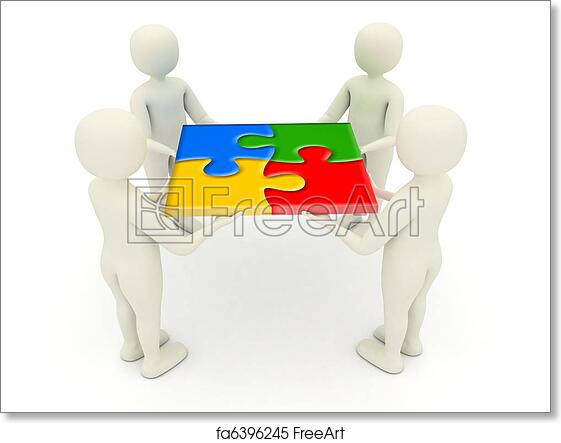 Free Art Print Of 3d Men Holding Assembled Jigsaw Puzzle Pieces