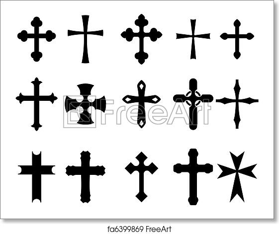 Free Art Print Of Cross Symbols Set Of Religious Cross Symbols