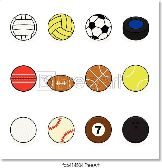Free Art Print Of Sports Balls Set With Cartoon Balls For Different Sports Volleyball Water Polo Soccer Hockey Cricket Football Basketball Tennis Golf Baseball Billiards And Bowling Freeart Fa6414504